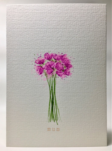 Original Hand Painted Mother's Day Card - Pink Bouquet