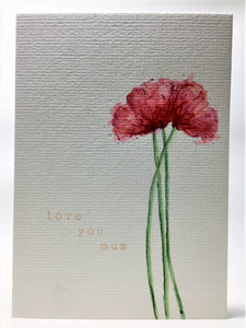 Original Hand Painted Mother's Day Card - Red Poppies