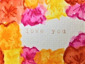 Original Hand Painted Greeting Card - Pink, Red, Orange and Yellow Flowers