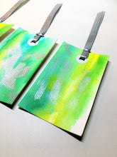 Set of 5 original handpainted watercolour gift tags - green, yellow and silver abstract design - eDgE dEsiGn London