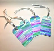 Set of 4 original hand-painted watercolour gift tags - purple, blue, green and silver design - eDgE dEsiGn London