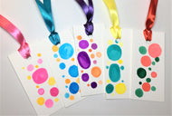 Set of 5 original handpainted watercolour gift tags - multicolour circles