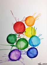 Original Hand Painted Greeting Card - Abstract Rainbow Splatter Circles - eDgE dEsiGn London