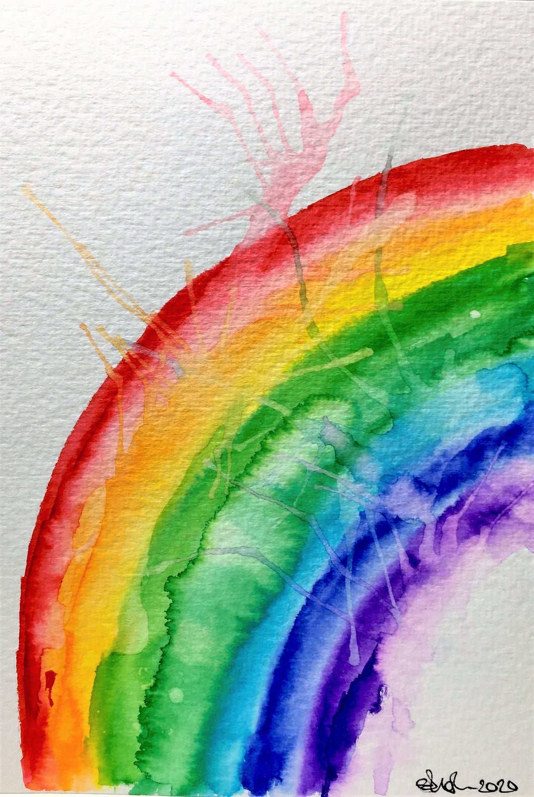 Original Hand Painted Greeting Card - Abstract Small Splatter Rainbow - eDgE dEsiGn London