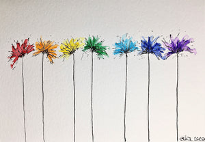 Original Hand Painted Greeting Card - Rainbow Abstract Spiky Flowers - eDgE dEsiGn London