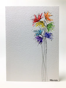 Original Hand Painted Greeting Card - Abstract Rainbow Spiky Flower #2 - eDgE dEsiGn London