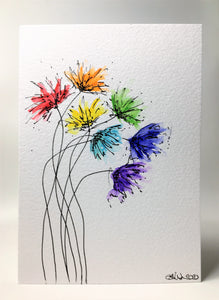 Original Hand Painted Greeting Card - Abstract Rainbow Spiky Flower #3 - eDgE dEsiGn London