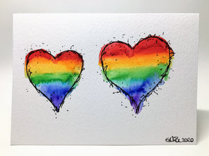 Original Hand Painted Greeting Card - Abstract Rainbow Hearts - eDgE dEsiGn London