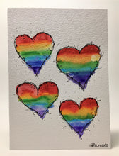 Original Hand Painted Greeting Card - Abstract Rainbow 4 Hearts Design - eDgE dEsiGn London