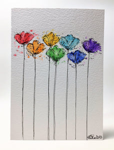 Original Hand Painted Greeting Card - Abstract Rainbow Colour Tulip Design #3 - eDgE dEsiGn London
