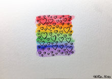 Original Hand Painted Greeting Card - Abstract Rainbow Small Square Black Hearts - eDgE dEsiGn London