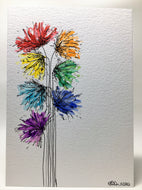 Original Hand Painted Greeting Card - Abstract Rainbow Spiky Flower #4