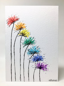 Original Hand Painted Greeting Card - Abstract Rainbow Spiky Flower #5 - eDgE dEsiGn London