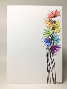 Original Hand Painted Greeting Card - Abstract Rainbow Spiky Flower #6 - eDgE dEsiGn London