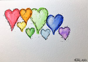 Original Hand Painted Greeting Card - Abstract 8 Rainbow Hearts Ink Detail - eDgE dEsiGn London