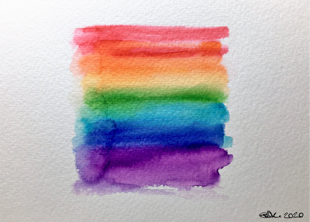 Original Hand Painted Greeting Card - Abstract Rainbow Square - eDgE dEsiGn London