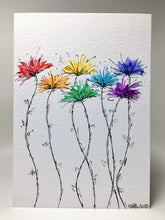 Original Hand Painted Greeting Card - Abstract Rainbow Spiky Flower Stem Design