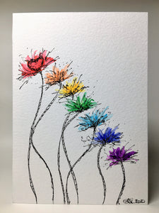Original Hand Painted Greeting Card - Abstract Rainbow Spiky Flower Stem Design #2