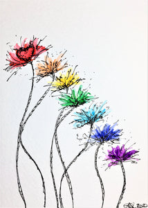Original Hand Painted Greeting Card - Abstract Rainbow Spiky Flower Stem Design #2 - eDgE dEsiGn London