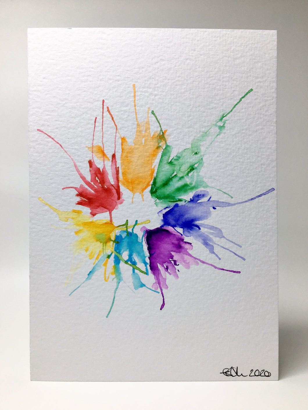 Original Hand Painted Greeting Card - Abstract Rainbow Spiky Splatter Flower Design