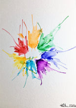 Original Hand Painted Greeting Card - Abstract Rainbow Spiky Splatter Flower Design - eDgE dEsiGn London