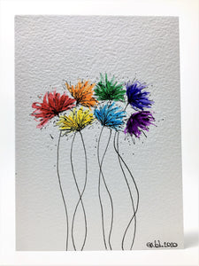 Original Hand Painted Greeting Card - Abstract Rainbow Spiky Flower #8 - eDgE dEsiGn London