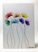 Original Hand Painted Greeting Card - Abstract Rainbow Spiky Flower #9