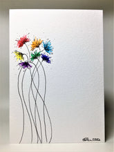 Original Hand Painted Greeting Card - Abstract Rainbow Spiky Flower #10 - eDgE dEsiGn London