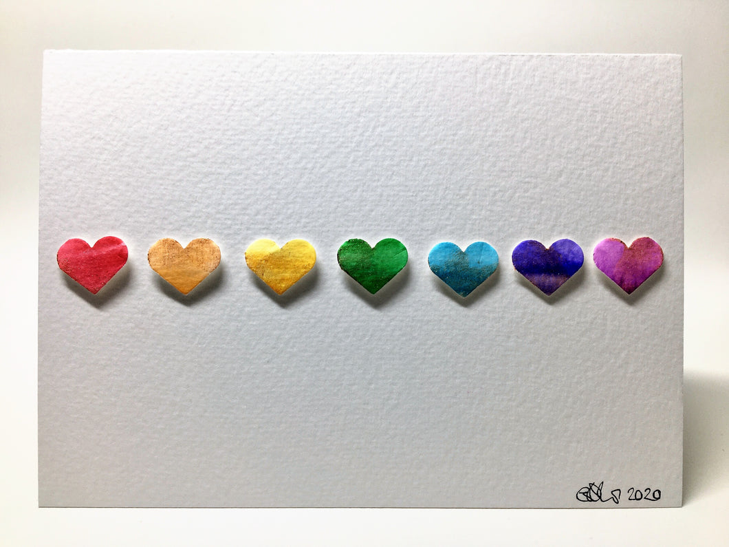 Original Hand Painted Greeting Card - Rainbow Hearts with bronze detail - eDgE dEsiGn London