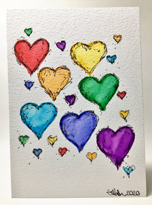 Original Hand Painted Greeting Card - Abstract 21 Rainbow Hearts Ink Detail - eDgE dEsiGn London