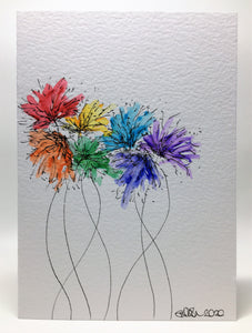 Original Hand Painted Greeting Card - Abstract Rainbow Spiky Flower #11 - eDgE dEsiGn London