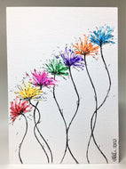 Original Hand Painted Greeting Card - Abstract Rainbow Spiky Flower #12 - eDgE dEsiGn London