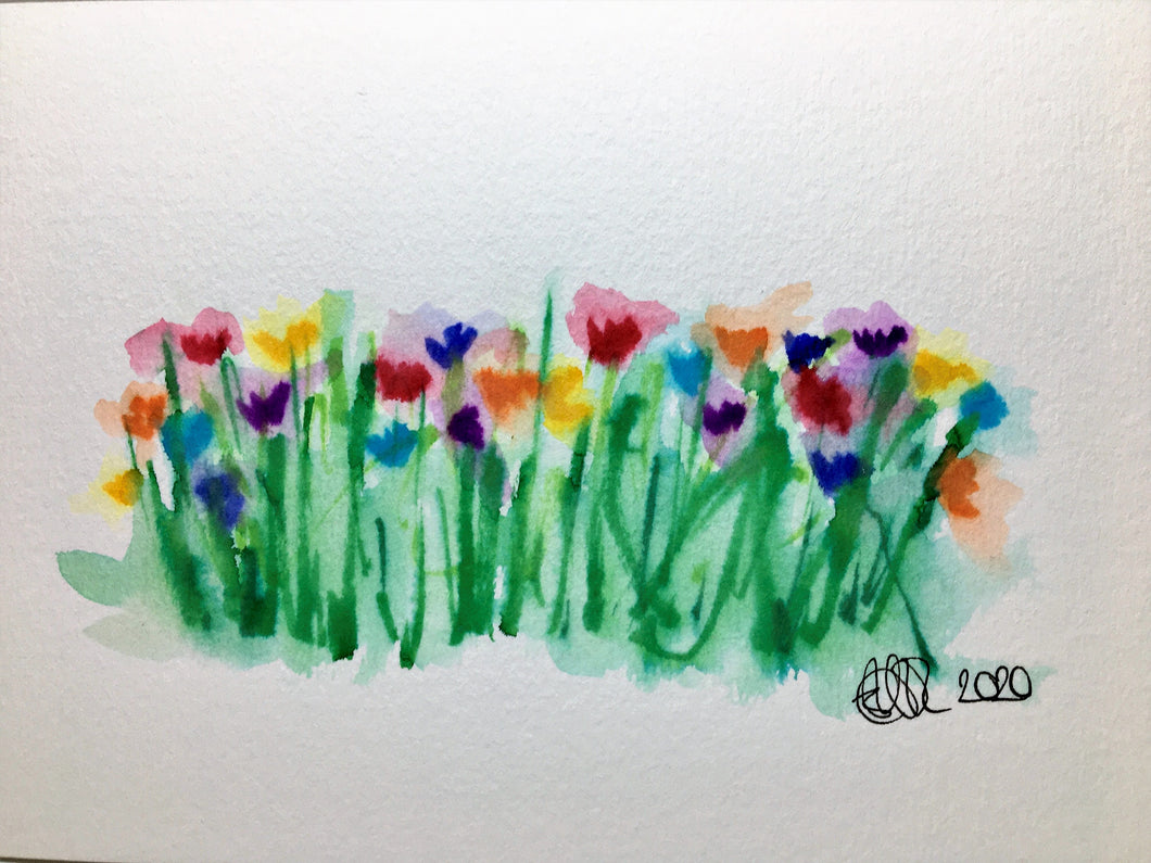 Hand-painted Watercolour Greeting Card - Abstract Poppy Field Design #2 - eDgE dEsiGn London