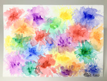 Original Hand Painted Greeting Card - Abstract rainbow flowers - eDgE dEsiGn London