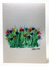 Original Hand Painted Greeting Card - Abstract Rainbow Poppy Field #2 - eDgE dEsiGn London