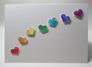 Original Hand Painted Greeting Card - Rainbow Hearts and bronze detail