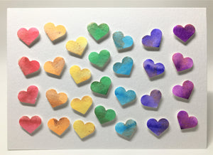 Original Hand Painted Greeting Card - 28 Rainbow Hearts - eDgE dEsiGn London