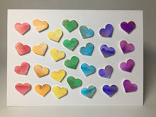 Original Hand Painted Greeting Card - 28 Rainbow Hearts