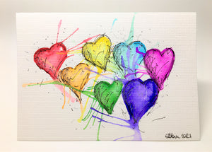 Original Hand Painted Greeting Card - Abstract Rainbow Hearts