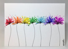 Original Hand Painted Greeting Card - Spiky Rainbow Flowers