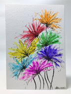 Original Hand Painted Greeting Card - Big Spiky Rainbow Flowers