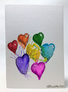 Original Hand Painted Greeting Card - Abstract Splatter Rainbow Hearts