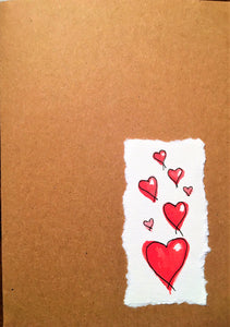 Valentines Card Red Hearts on the Corner - Handmade - eDgE dEsiGn London