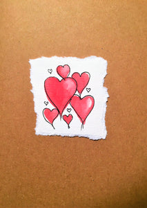 Valentines Card Hearts in the middle - Handmade - eDgE dEsiGn London