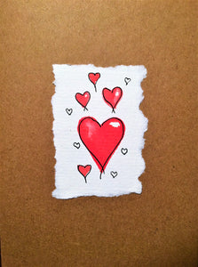 Valentines Card Hearts at the centre - Handmade