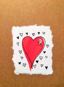 Valentines Card Big Red Heart and friends - Handmade