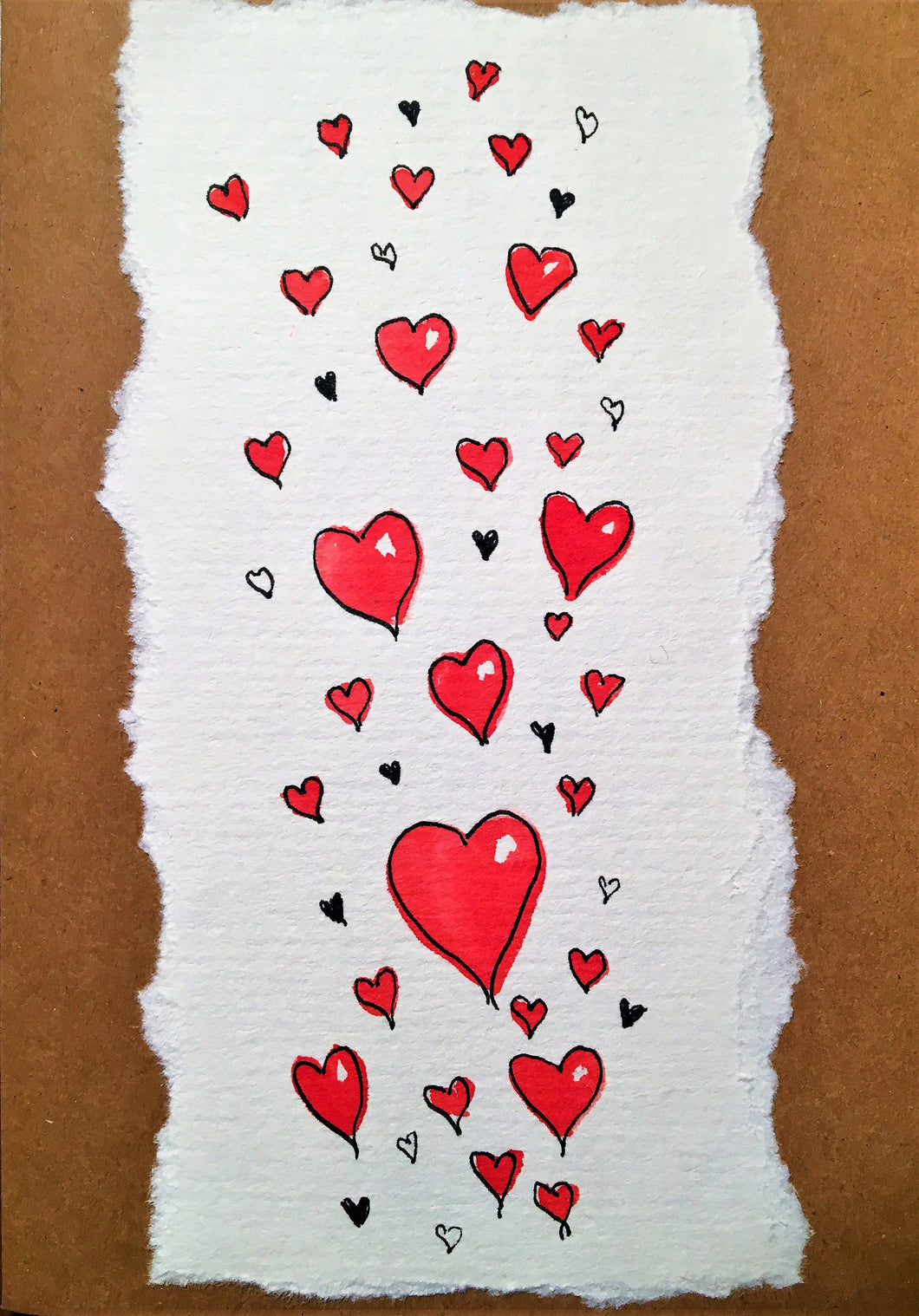 Valentines Card Lots of Love Hearts - Handmade