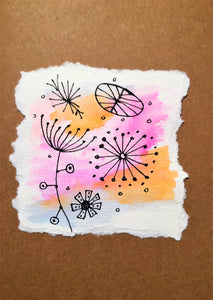 Hand painted greeting card - Abstract Ink Design on Pink/Orange/Blue Waterclour - eDgE dEsiGn London