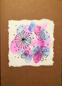 Hand painted greeting card - Abstract Ink Design on Pink/Lilac/Blue Waterclour - eDgE dEsiGn London