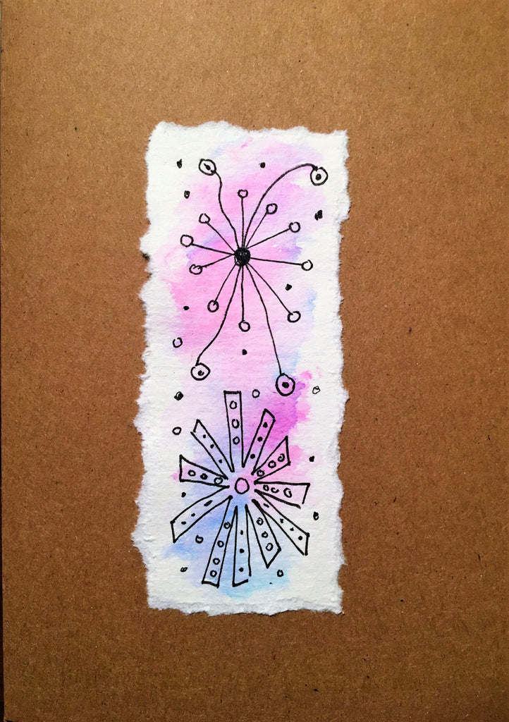 Hand painted greeting card - Abstract Ink Design on Lilac/Blue Waterclour - eDgE dEsiGn London